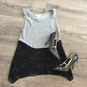 Socialite gray/black lace flowy tank ~ Size Medium